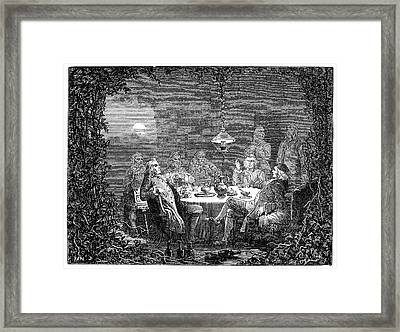Lunar Society Meeting Framed Print by Science Photo Library