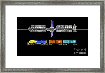 Lunar Space Elevator And Train, Artwork Framed Print by Walter Myers