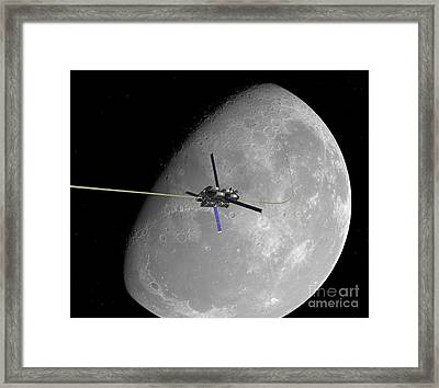 Lunar Space Elevator Ascent, Artwork Framed Print by Walter Myers