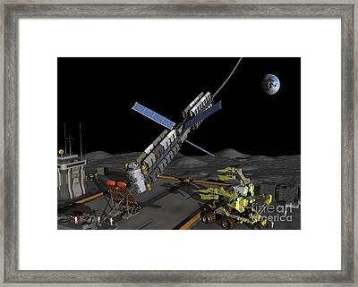 Lunar Space Elevator Moon Base, Artwork Framed Print by Walter Myers