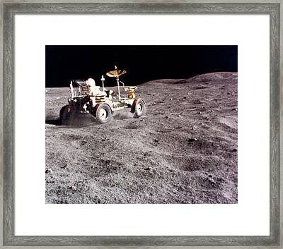 Lunar Vehicle Speed Run Framed Print by Underwood Archives