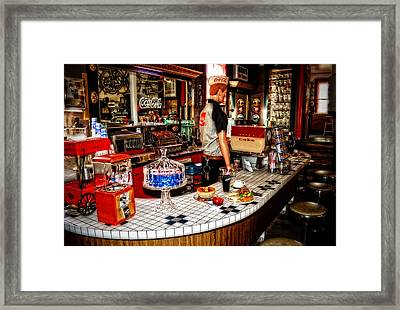 Lunch At The Diner Framed Print by Kathy Jennings