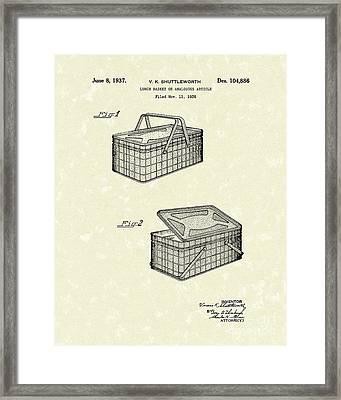 Lunch Basket 1937 Patent Art Framed Print
