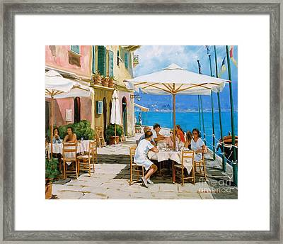 Lunch In Portofino Framed Print by Michael Swanson