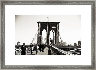 Lunch Time On The Bridge 1990s Framed Print by John Rizzuto