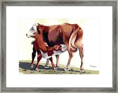 Lunch Time On The Range Framed Print