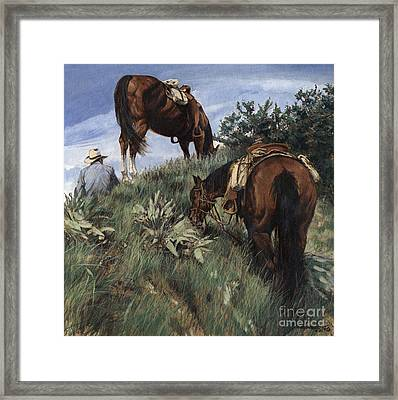 Lunch Top Of The Mountain At Jackson Hole Framed Print by Don  Langeneckert