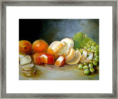 Framed Print featuring the painting Luncheon Delight - Still Life by Bernadette Krupa