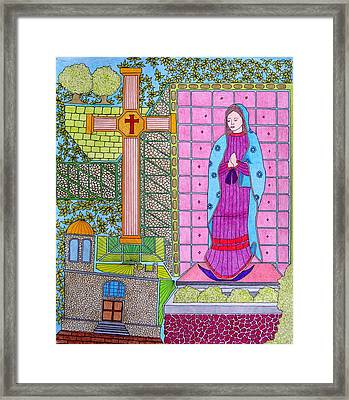 Lupe Yellow Cross Framed Print