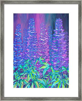 Framed Print featuring the mixed media Lupines by Teresa Ascone