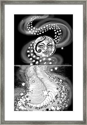 Framed Print featuring the digital art Lure Of Moonlight by Carol Jacobs