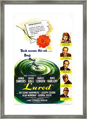Lured, Us Poster, From Top Lucille Framed Print by Everett
