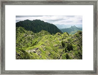 Lush Hawaiian Mountains Framed Print by Charmian Vistaunet