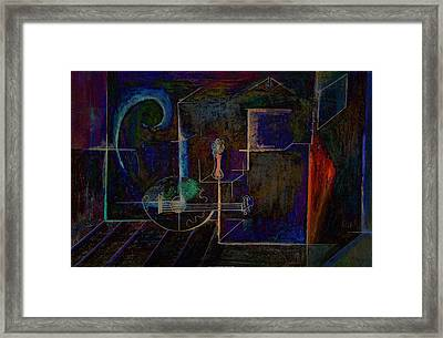 Framed Print featuring the digital art Lute By Night by Kim Gauge