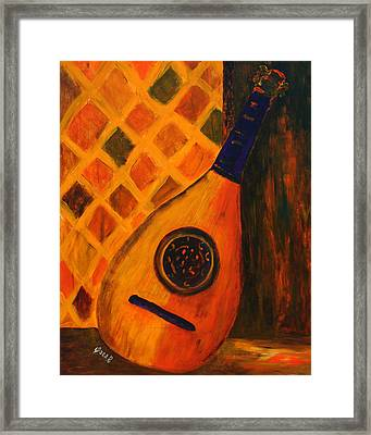 Lute By The Window  Framed Print by Oscar Penalber