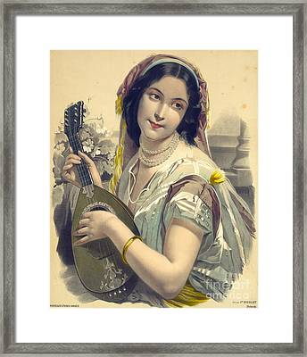 Lute Player 1850 Framed Print by Padre Art