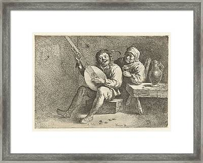 Lute Player And Old Woman, David Teniers II Possibly Framed Print by David Teniers Ii And Cornelis Pietersz. Bega