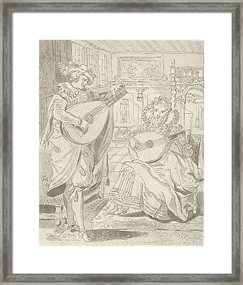 Lute Playing Lord And Lady, Cornelis Ploos Van Amstel Framed Print by Quint Lox