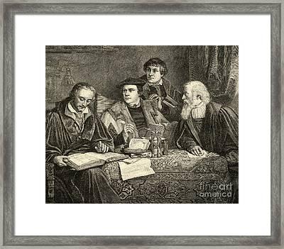 Luther Melancthon Pomeranus And Cruciger Translating  Framed Print
