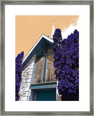 Framed Print featuring the photograph Lutheran Church Steeple by Laurie Tsemak