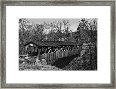 Luther's Mill Covered Bridge Black And White Framed Print