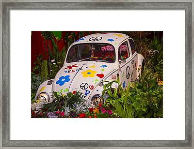Luv Bug In The Garden Framed Print by Garry Gay