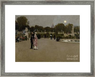 Luxembourg Gardens At Twilight Framed Print by John Singer Sargent