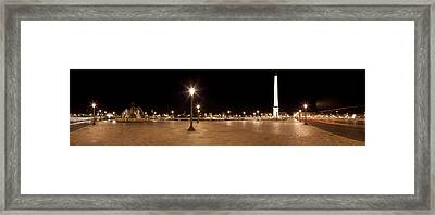 Luxor Obelisk At Night, Place De La Framed Print by Panoramic Images