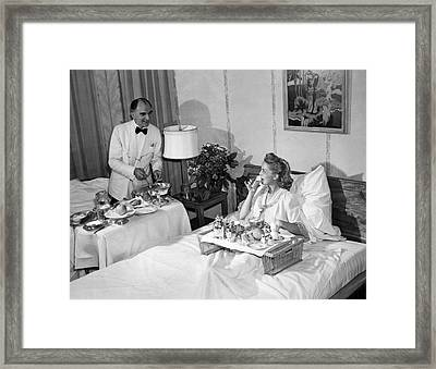 Luxurious Room Service Framed Print by Underwood Archives