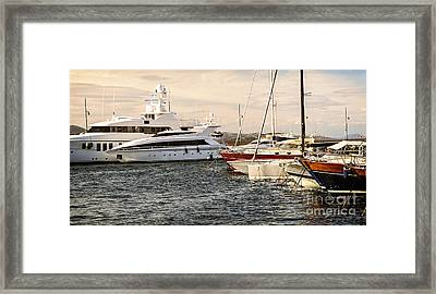 Luxury Boats At St.tropez Framed Print by Elena Elisseeva
