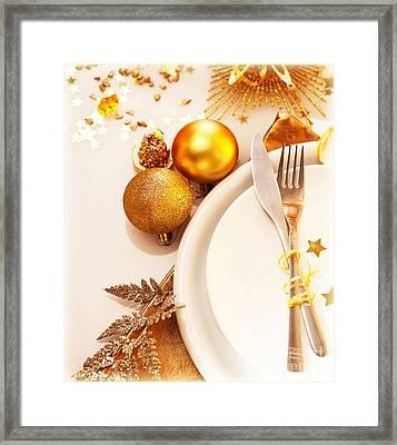 Luxury Christmas Table Setting Framed Print by Anna Om