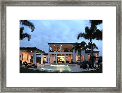 Luxury Home With Pool Framed Print by Bill Bachmann