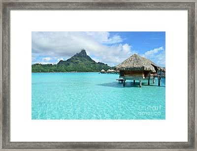 Luxury Overwater Vacation Resort On Bora Bora Island Framed Print