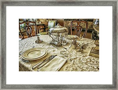 Luxury Table Setting With Silver Framed Print by Patricia Hofmeester