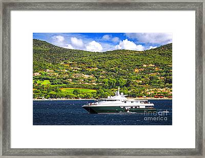 Luxury Yacht At The Coast Of French Riviera Framed Print by Elena Elisseeva
