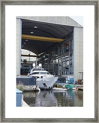 Luxury Yacht Construction Framed Print by Sheila Terry