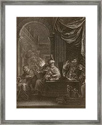 Lycaon Metamorphosed Into A Wolf, 1731 Framed Print by Bernard Picart