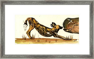 Lycaon With Hippo Framed Print by Juan  Bosco