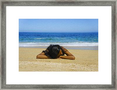 Lying On The Beach Framed Print by Aged Pixel