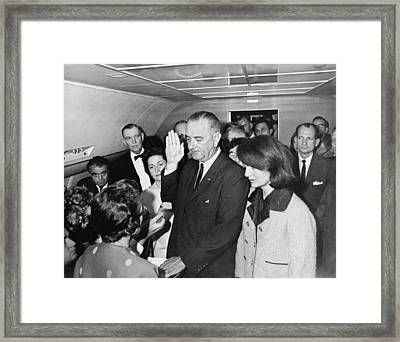 Lyndon Johnson Sworn In Framed Print by Cecil W. Stoughton