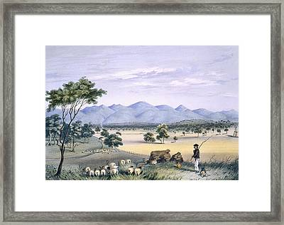 Lynedoch Valley Looking Towards Framed Print by George French Angas