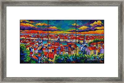 Lyon Panorama Triptych Framed Print by Mona Edulesco