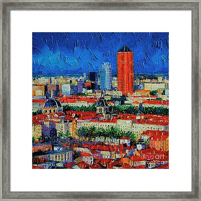 Lyon View From Jardins Des Curiosites  Framed Print by Mona Edulesco