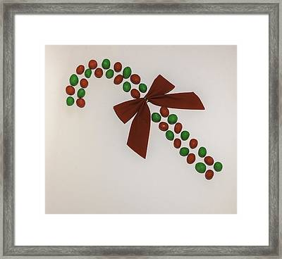 M And M Candy Cane Framed Print