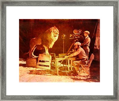 M G M Filming Of Leo The Lion Production Logo 1917 To 1928 Framed Print