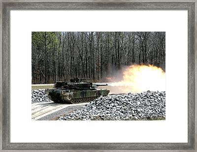 M1a1 Abrams Tank Firing Framed Print