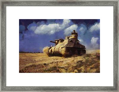 Framed Print featuring the painting M3 Lee Tank by Kai Saarto