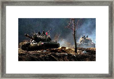 M48 Tanks An Tankers On The Job In Korean War Framed Print by Bob and Nadine Johnston