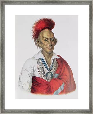 Ma-ka-tai-me-she-kia-kiah Or Black Hawk, A Sauk Brave, 1837, Illustration From The Indian Tribes Framed Print