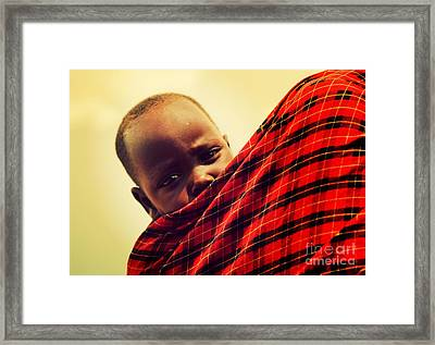 Maasai Baby Carried By His Mother In Tanzania Framed Print by Michal Bednarek